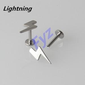 Image 5 - Piercing Labret de hilo interno de titanio G23, diferentes formas, para labio, 16G, Hélix, cartílago de oreja, Tragus, joyería para el cuerpo