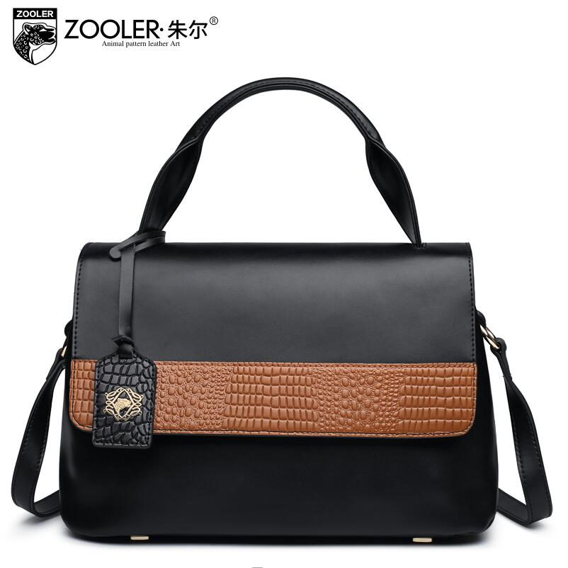 ZOOLER 2017 New Superior cowhide Genuine Leather fashion luxury handbags women bags designer Tote women shoulder messenger bag