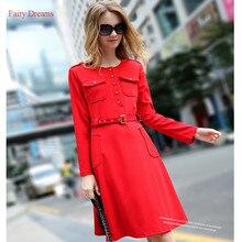Fairy Dreams Women Bandage Dress Black And Red Autumn Elegant Shirt Dress 2017 England Style Fashion Clothes vestidos de festa