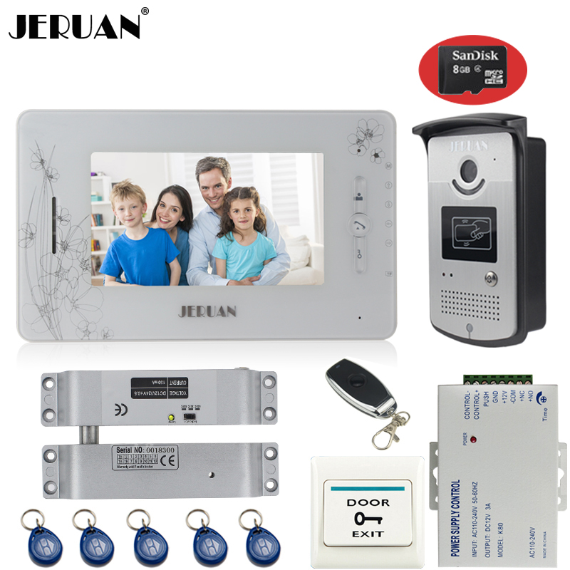 JERUAN 7`` TFT color video door phone intercom system 700TVL new RFID Access IR Night Vision Camera+8GB card+Electric Bolt lock jeruan three 7 monitor color video door phone intercom 700tvl rfid access ir night vision camera electric mortise lock 8gb card