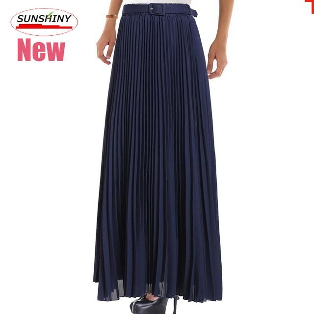 SUNSHINY Excellent Pleated Chiffon Skirt Women Spring Summer Autumn Fashion Long Maxi Skirt XXXL Top Quality + Belt AS-18