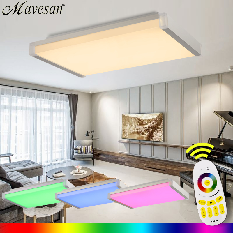 Hot Selling Remote Ceiling Light fixture with RGB Smart LED Lamp shade Modern 36W  plafondlamp for living room flush mount