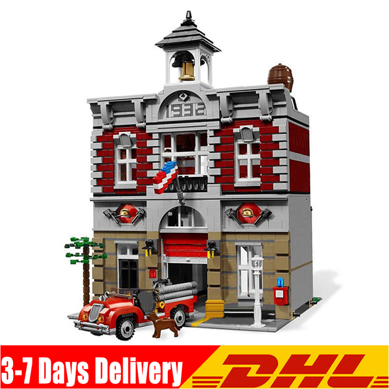 IN Stock DHL 15004 2313Pcs City Street Fire Brigade Model Building Kits Blocks Bricks Compatible 10197 Bricks