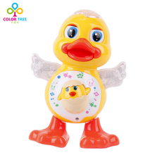 Children Electric Swing Dancing Yellow Duck With Light Music Plastic Toys Early Educational Christmas Gifts For Children