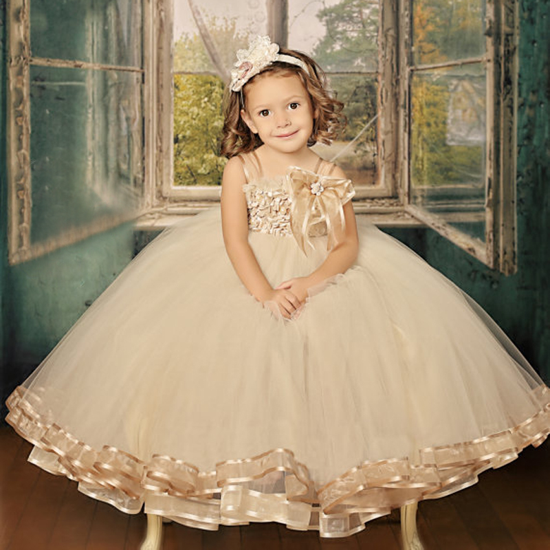 Jacqueline Tutu Flower Girl Dress Vintage Romance Square Collar Satin First Communion Dress Tulle Ball Gowns Rosette Vestidos