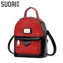 SUOAI Frauen Rucksack 2017 Neue Mode Mädchen Taschen Hohe Qualität Pu-leder Mini Umhängetaschen