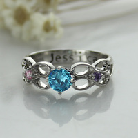 Wholesale Secret Message Infinity Ring Engraved Birthstone Ring Silver Hand Stamped Ring Birthstone Valentine's Day Jewelry