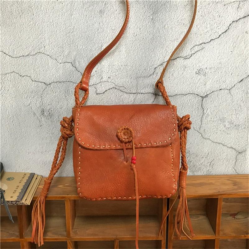 Nesitu Highend Vintage Yellow Red Black Brown Coffee Vegatable Tanned Genuine Leather Mini Women Shoulder Messenger Bag M32023