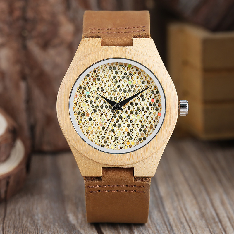 Women's Crystal Shining Clock 100% Natural Bamboo Wood Watches Simple Analog Genuine Leather Gifts for Ladies Girls Montre Femme classic style natural bamboo wood watches analog ladies womens quartz watch simple genuine leather relojes mujer marca de lujo