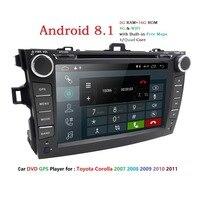 Android 8,1 dvd плеер автомобиля для Toyota corolla 2007 2008 2009 2010 2011 в тире 2 din 1024*600 Автомобильная dvd навигационная система тире gps