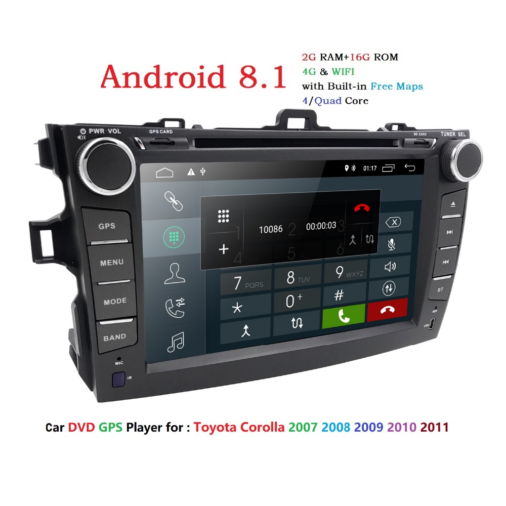 Android 8.1 lecteur dvd de voiture pour Toyota corolla 2007 2008 2009 2010 2011 en dash 2 din 1024*600 dvd de voiture navigation gps au tableau de bord gps