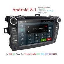 Android 8,1 dvd плеер автомобиля для Toyota corolla 2007 2008 2009 2010 2011 в тире 2 din 1024*600 Автомобильная dvd-навигационная система тире gps