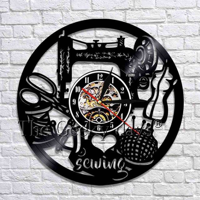 1Piece Quilting Wall Art Decor I Love Sewing Vinyl Wall Clock Sewing Machine Kitchen 3D Wall Clocks Watches Decoration Maison