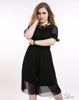 Cute Ann Women S Plus Size Mesh Jumpsuits And Rompers Half Sleeve Stretchy White And Black
