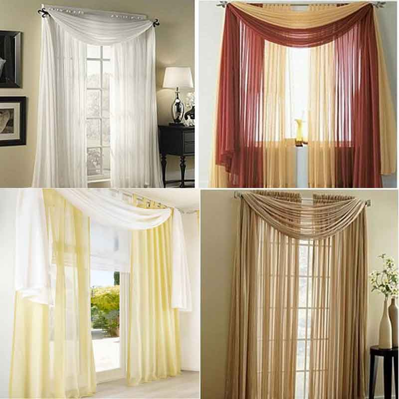 Luxury Sheer Curtains princess bedroom corina Tulle Voile Valance for Living Room wedding Home window decoration Solid Color