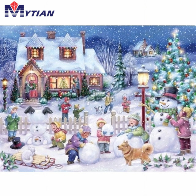 Christmas Village.Us 5 42 49 Off Mytian 5d Diamond Painting Christmas Village Children Playing In The Snow Diamond Embroidery Art Kit Home Decor Handmade Sticker In