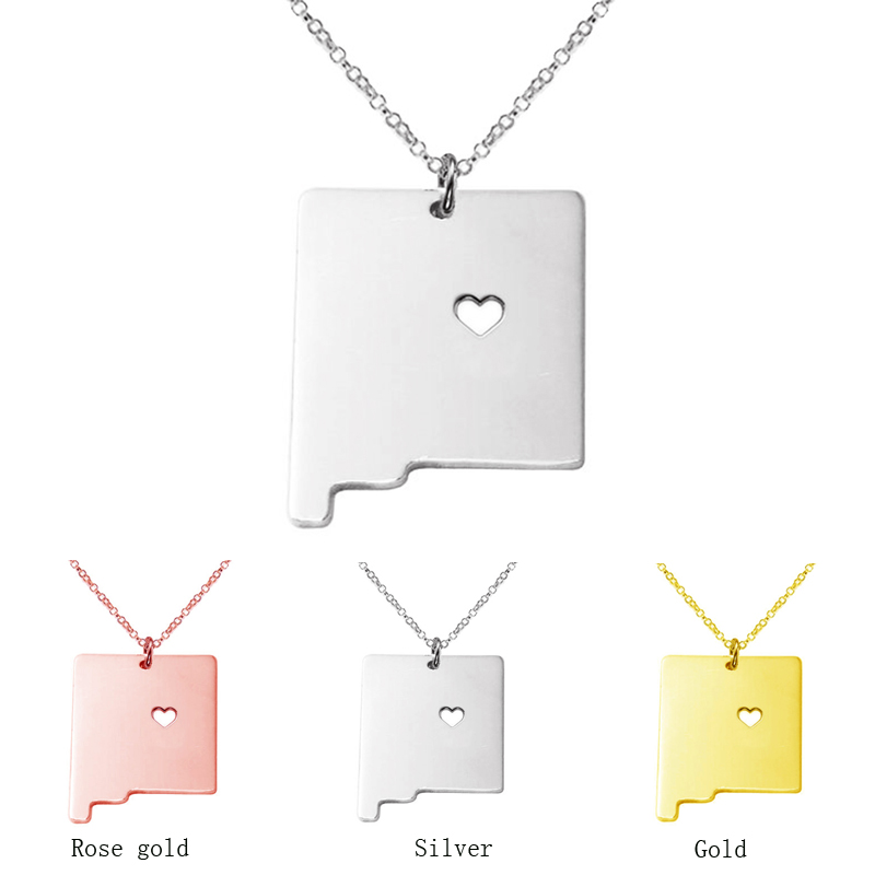 3 color New Mexico State map Necklace charm pendant Necklaces With A Heart statement Necklace jewelry CN48