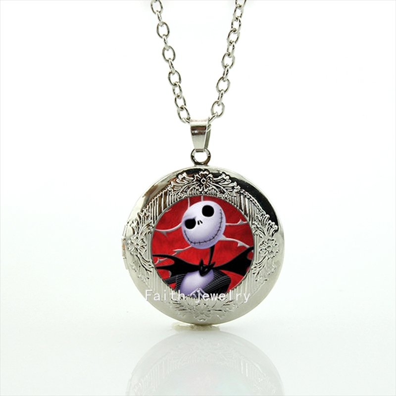 Jack skellington locket necklance Art Picture glass cabochon Dome Fashion jewelry for Ch ...