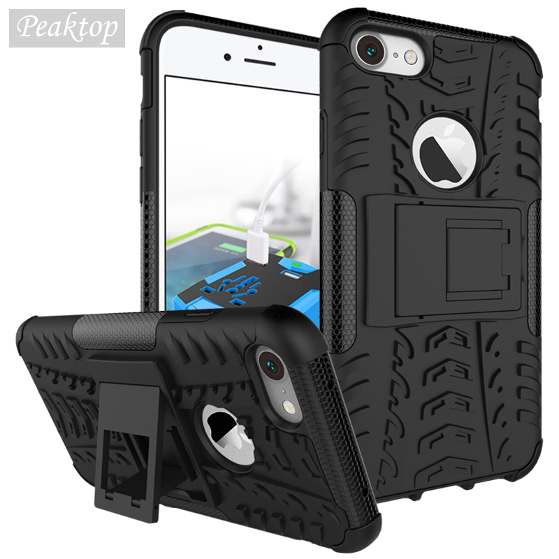 Tank Cover For iPhone 7 Case Soft Rubber & Hybrid PC Case For Apple iPhone 7 iPhone7Plus 4.7 inch Mobile Phone Holder Stand Bag