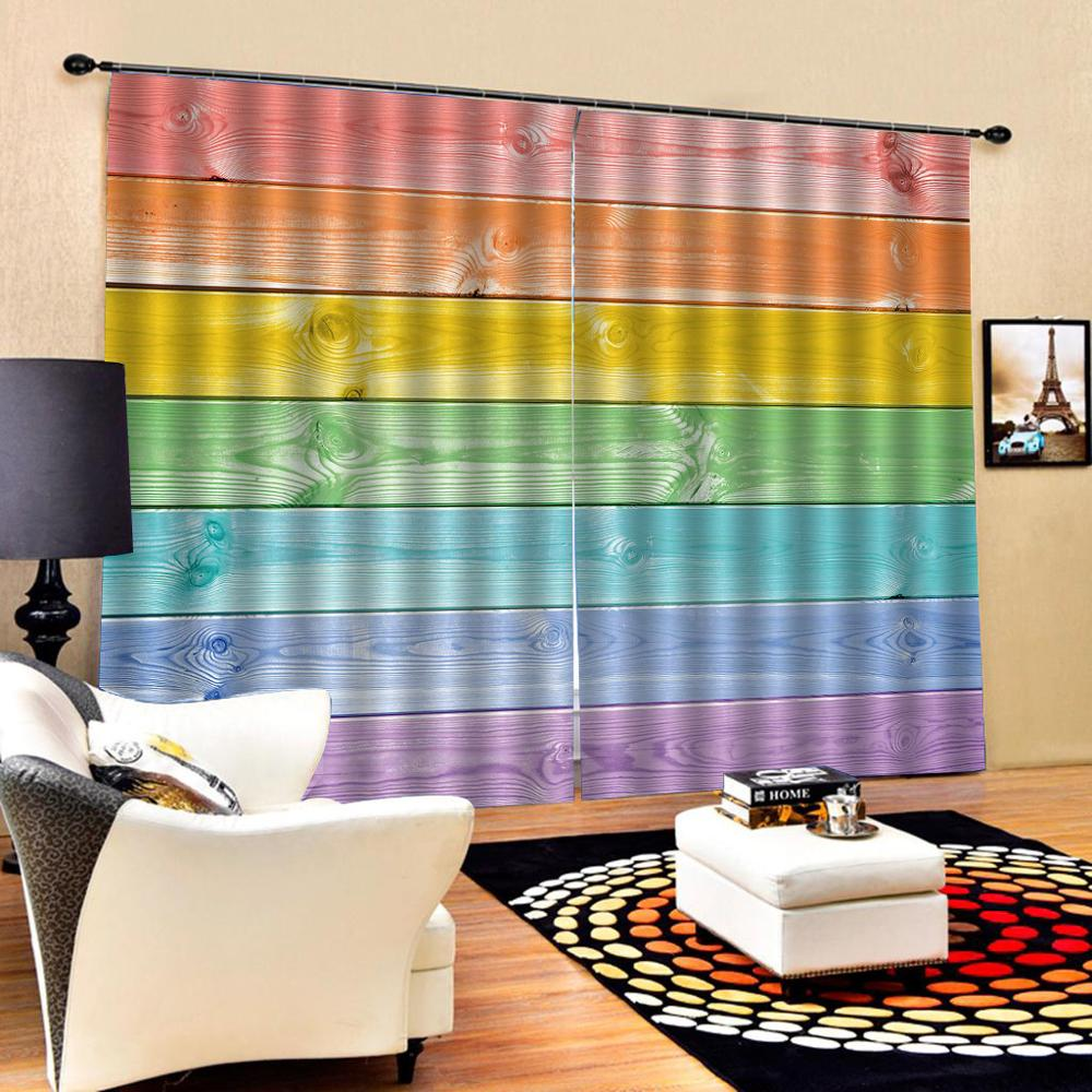 window curtains for living room bedroom blackout curtains colorful wood curtains Decoration curtains(China)