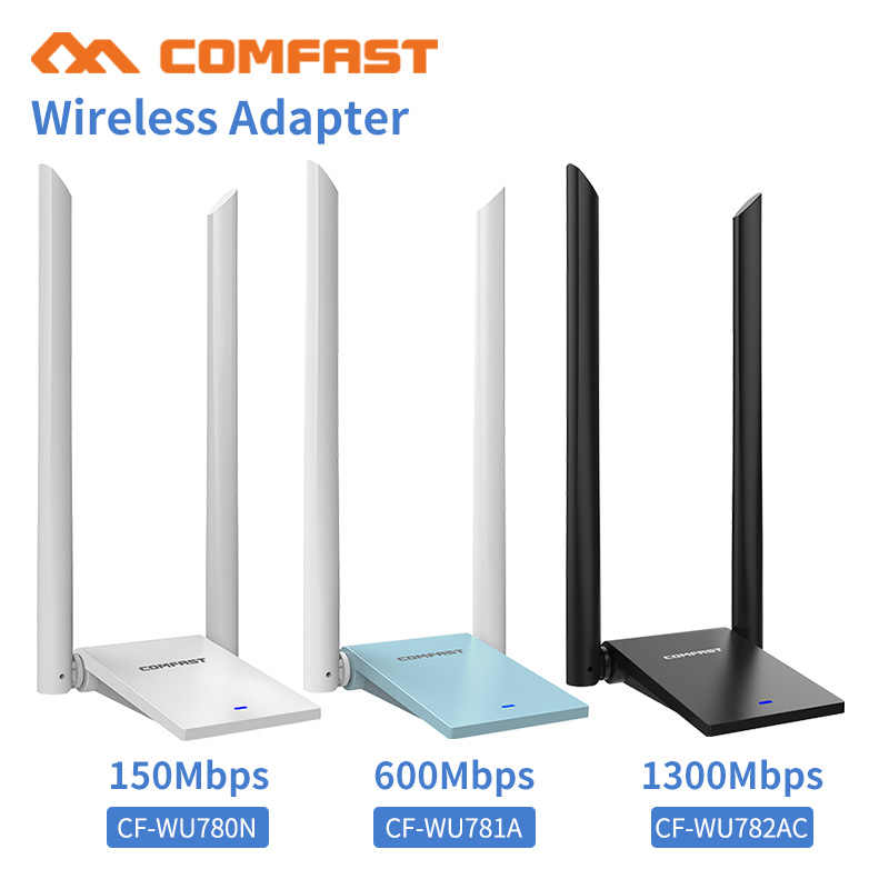 Comfast USB 3.0 Wireless Wifi מתאם Dual Band 2.4 + 5 GHz 150-1300 Mbps 802.11AC 802.11/ b/n/g/ac עם 2 * 6dbi Wi fi אנטנות