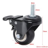 4 Pack PU Rubber Swivel Casters with 360 Degree Each Wheel Capacity