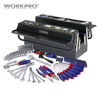 WORKPRO 183PC Metal Box Tool Set Home Hand Tools Screwdriver Set Sockets Pliers Wrenches