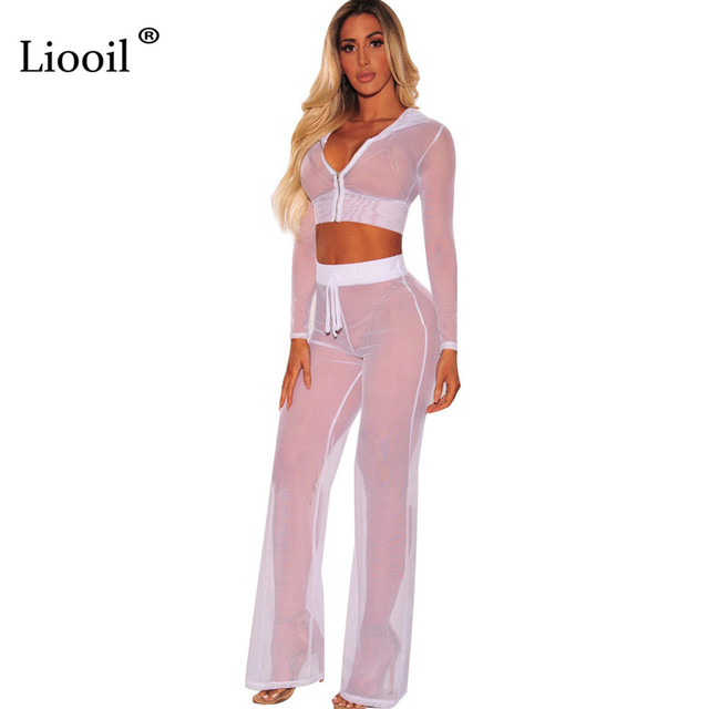 874dd7c80dd Liooil Sexy Club Mesh See Through Jumpsuit Women Long Sleeve and Pants  Zipper Black Red 2 Piece Lace Up Rompers Womens Jumpsuits