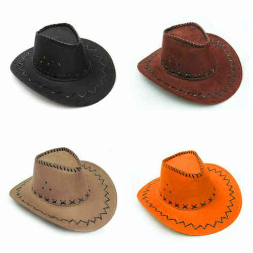 Cowboy Hoed Suede Look Wild West Fancy Dress Mannen Lady Cowgirl Unisex Cap 2019 Nieuw in Fashion