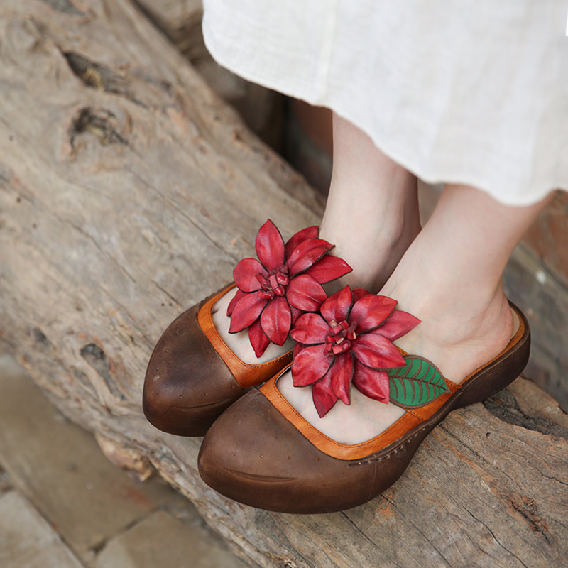 Genuine Leather Slippers Sandals Flower Wedges Beach Shoes Summer Handmade Low Heels Slip On Shoes Retro Leather Slippers 168-78