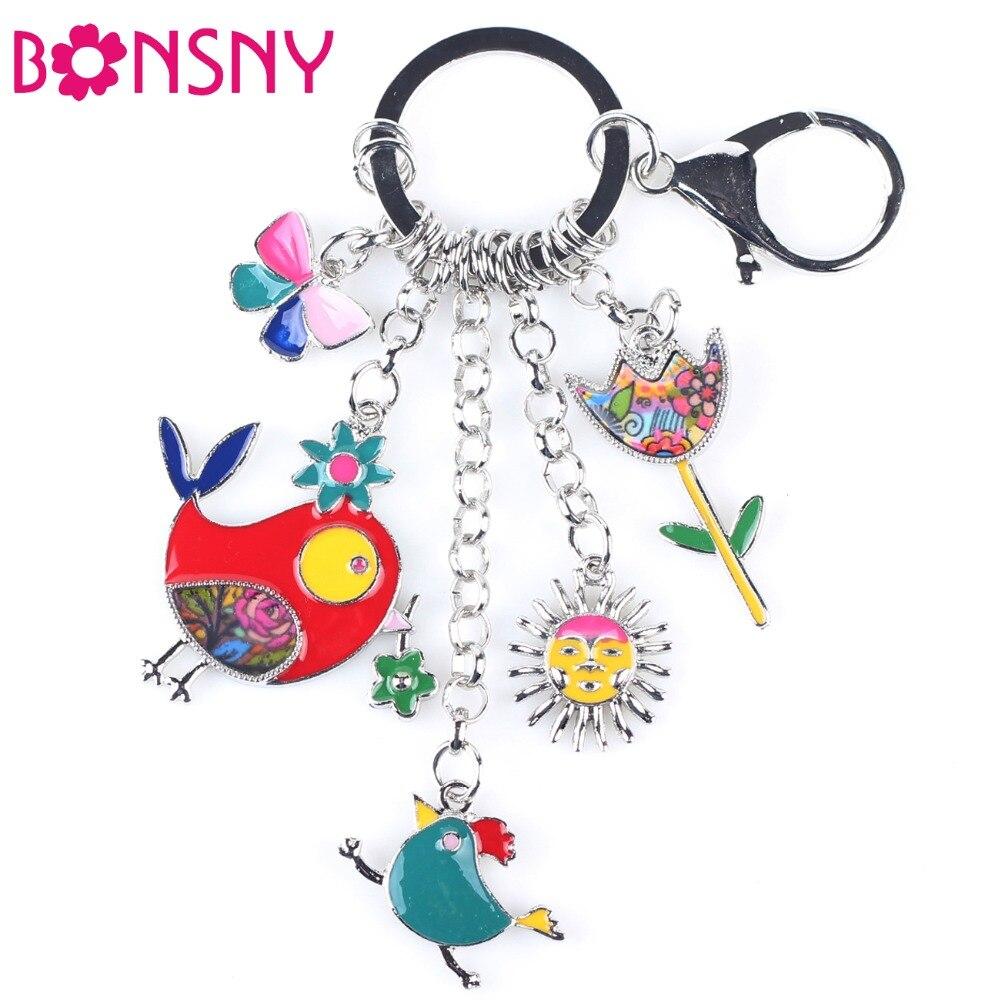 Bonsny 2016 Enamel Alloy Fish Chicken Marvel Alloy Key Chain For Women Girl Bag Keychain Charm Pendant Jewelry Aceessorie
