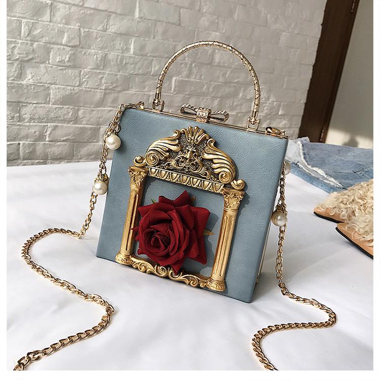 2018 NEW Rose 3D Palace Sculpture Frame Bag Luxury Handbags Women Party Bags Designer Lady Cute Shoulder Messenger Bag Sac Tote 14