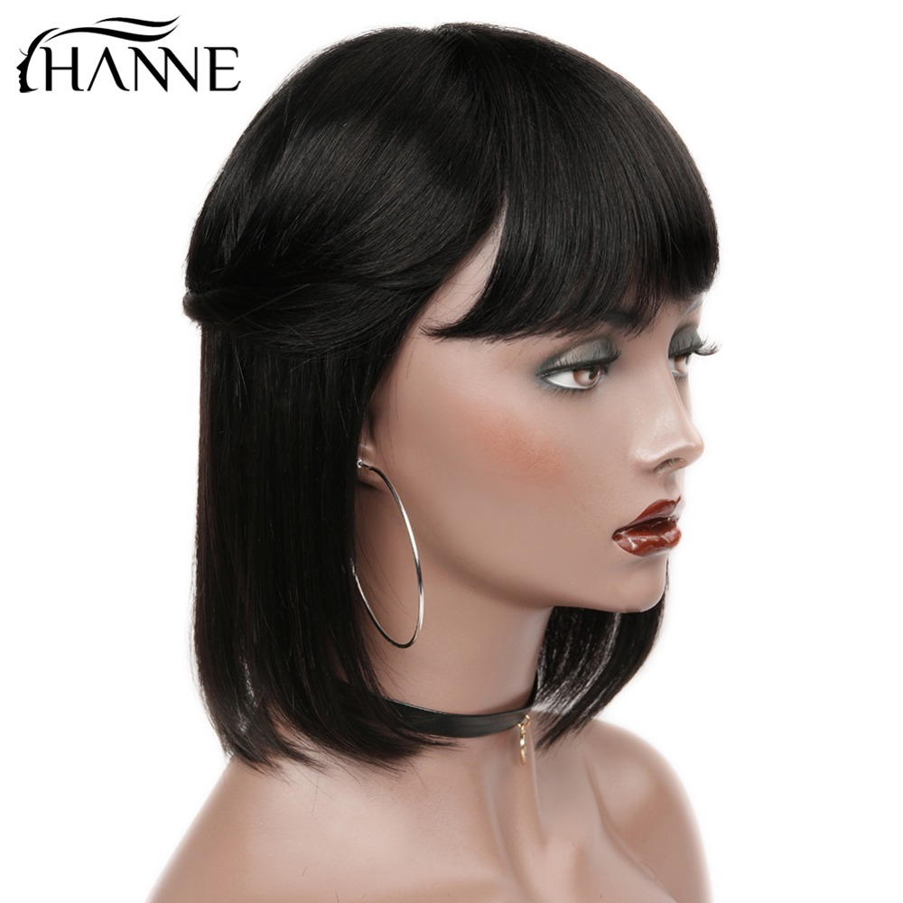 HANNE Hair Brazilian Straight Paryk med Bangs 100% Human Hair - Skønhed forsyning - Foto 6