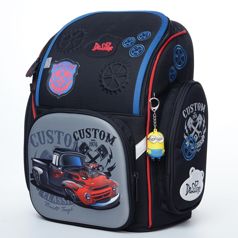 Delune Brand Kids New Orthopedic Backpack 3D Cartoon Schoolbag High Quality Cars Character School Bags Boys school backpack bags сумка emperor mk20380 2014