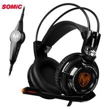 Somic G941 гарнитура 7,1 виртуальный объемный звук USB повязка на голову наушники с вибрационным микрофоном наушники со светодиодной подсветкой для компьютера