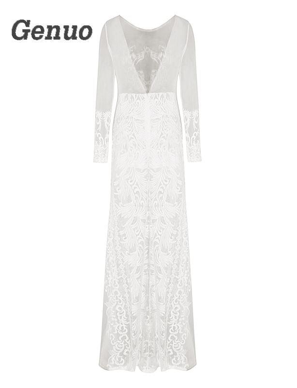 Luxueux Robe Floral Vintage Sexy Maxi Magnifique Blanc Femmes Dame Robes Longue Genuo Parti Moulante Dentelle TqwP5EfI