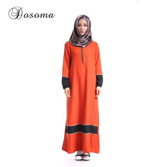 Musulmán cremallera abaya kimono mujer manga Maxi vestido islámico ...