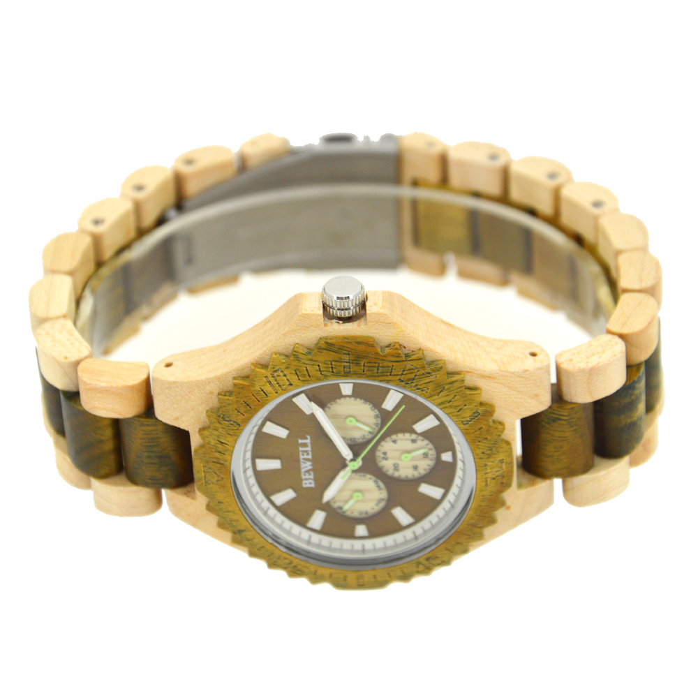 Bewell Men Watches Bracelet Watch Ladies Cool Design Flower Skull Wooden Handmade Full Wood Band Casual Nature Wood Clock 116B