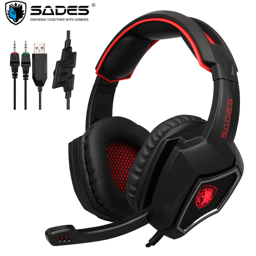 купить SADES Spirit Wolf PC Gamer Headset USB+3.5mm Wired Gaming Headphones with Mic Deep Bass Noise Isolating LED Light For Computer недорого