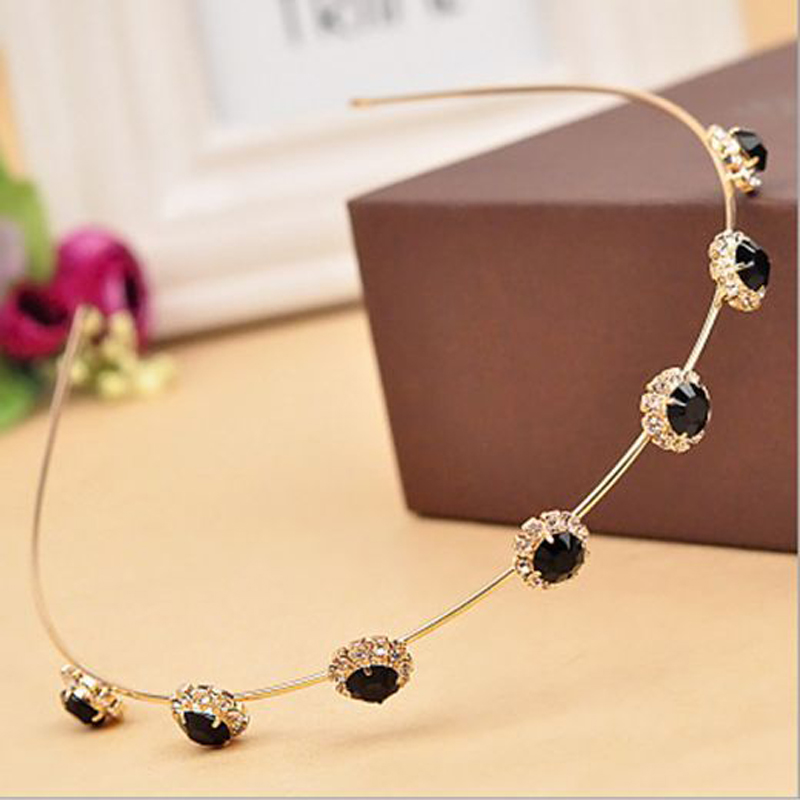 Fashion Women Elegant Charmerende Chic Bling Crystal Headband Metal Hairbands Hår Tilbehør