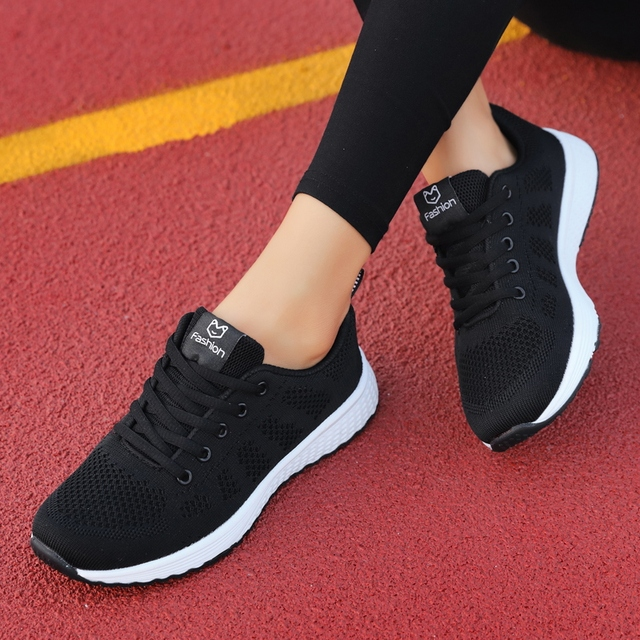 Women Casual Shoes Fashion Breathable Walking Mesh Lace Up Flat Shoes Sneakers Women 2019 Tenis Feminino Pink Black White 1