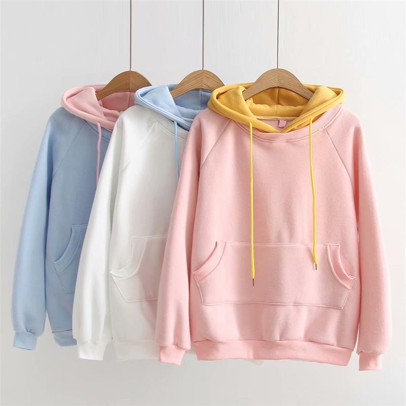 2018 Autumn and Winter New Loose Korean College Wind Solid Color Hooded Sweatshirts Women