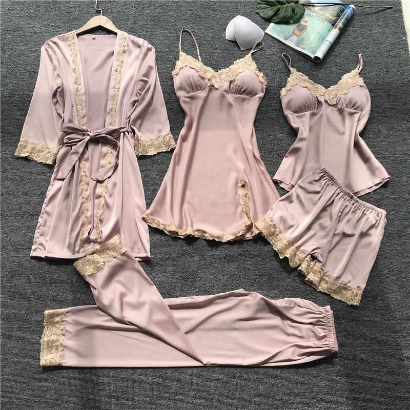 ZOOLIM saten pijama kadın göğüs pedleri seksi kadın pijama dantel ipek uyku salonu 5 adet setleri bayanlar kapalı giyim