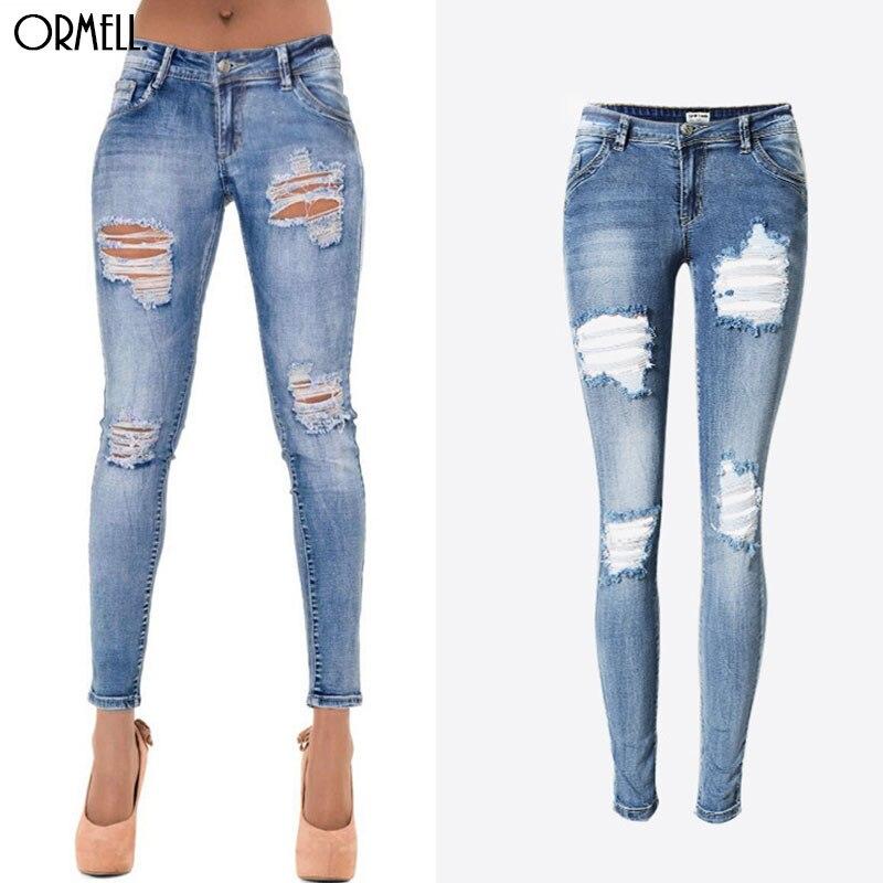 Jeans New Ladies' Ormell Moustache As Fashion Zipper Elastic Casual Slim Trousers Holes Denim Size Skinny Elegant Picture Plus Pants 0qqErnd