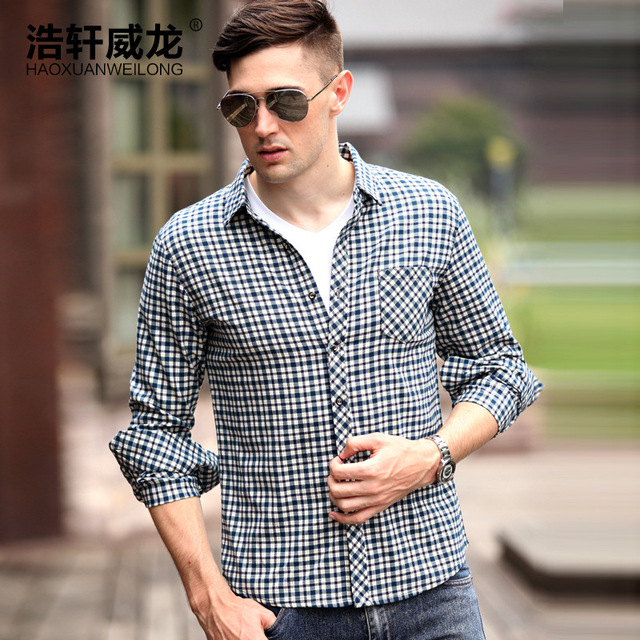 Spring 2014 Men's long-sleeved shirt new thin section of middle-aged men's business casual cotton plaid shirt