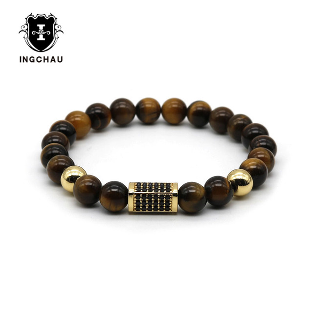 Fashion Gold Color Rectangle Cuboid Men Luxury Bracelet Tiger Eye Stone Bead Bracelets For