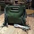 2016 new women tote bag tassels genuine leather bag women  famous brand designer handbags hig