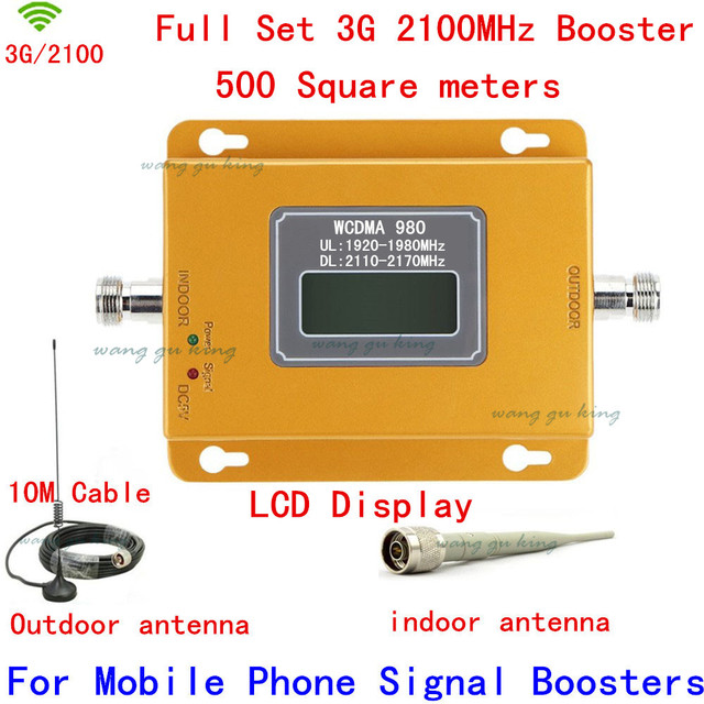For Russia Full Set antenna+cable LCD display 3G booster repeater,3G kits,W-CDMA booster repeater, UMTS 2100Mhz booster repeater