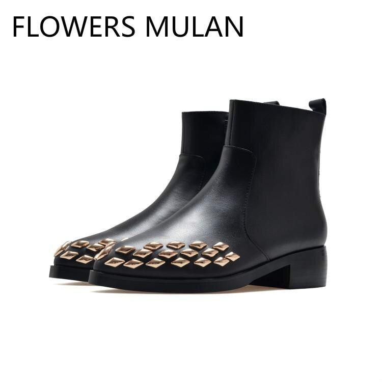 882f3955 De Remaches Tacón Redondo Nuevos Diseñadores Bajo Del Dedo Mujer Rombo  Tobillo Cuero Pie Zapatos Oro Invierno Negro Para ...