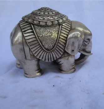 Rare old antique tibet silver carved lucky elephant incense burner /metal censer free shipping